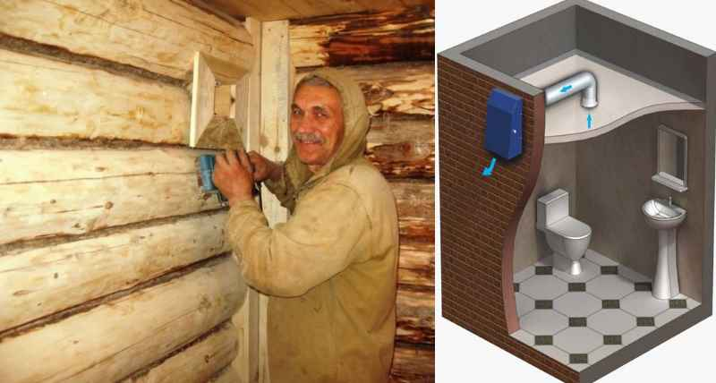 Вентиляция, которая устанавливается в санузле, способствует удалению влаги.